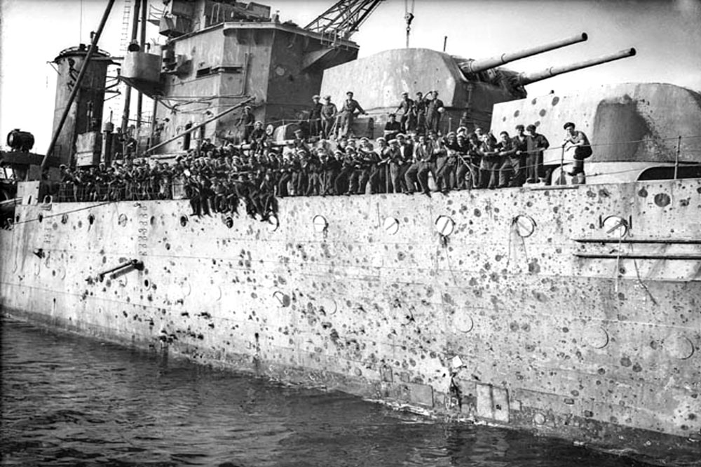 """HMS Penelope arriving in Gibraltar showing the """"peppered"""" hull"""